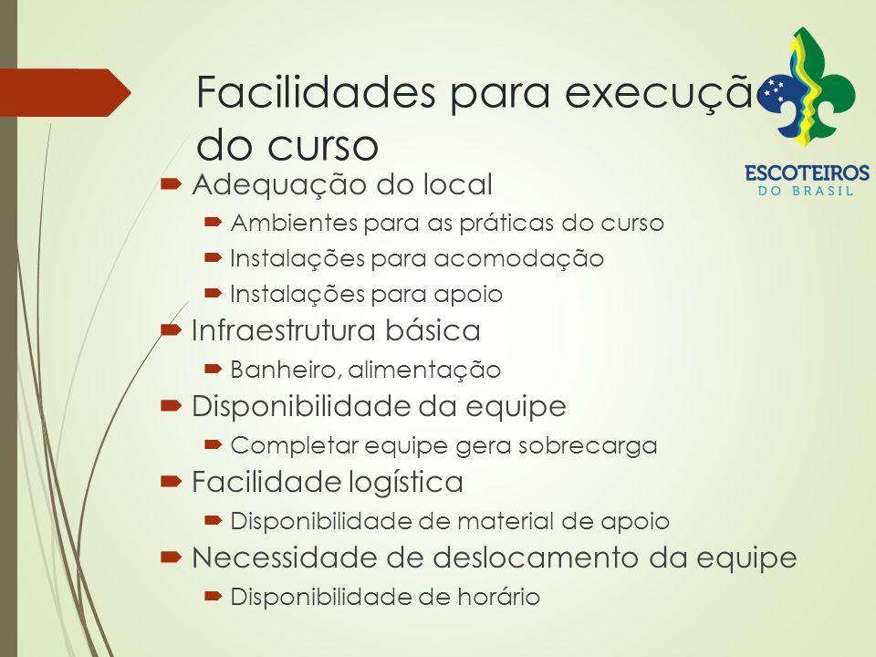 Facilidades para execução do curso