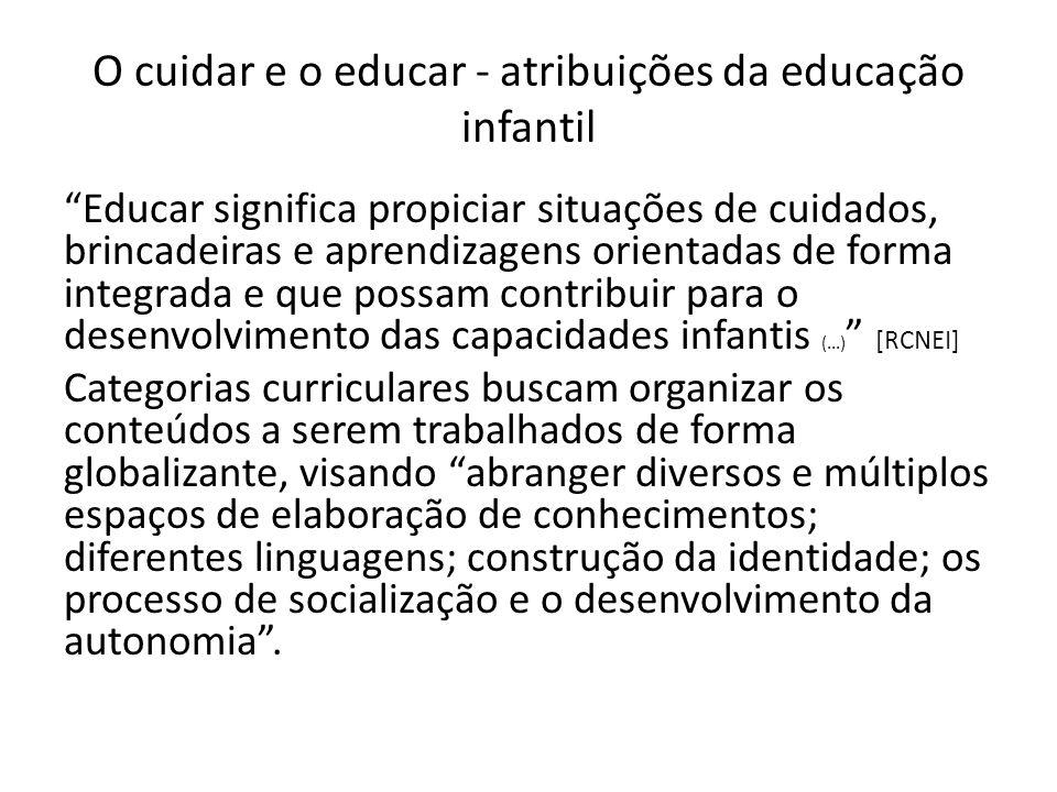 O cuidar e o educar - atribuições da educação infantil