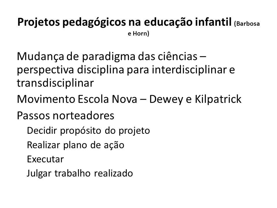 Projetos pedagógicos na educação infantil (Barbosa e Horn)