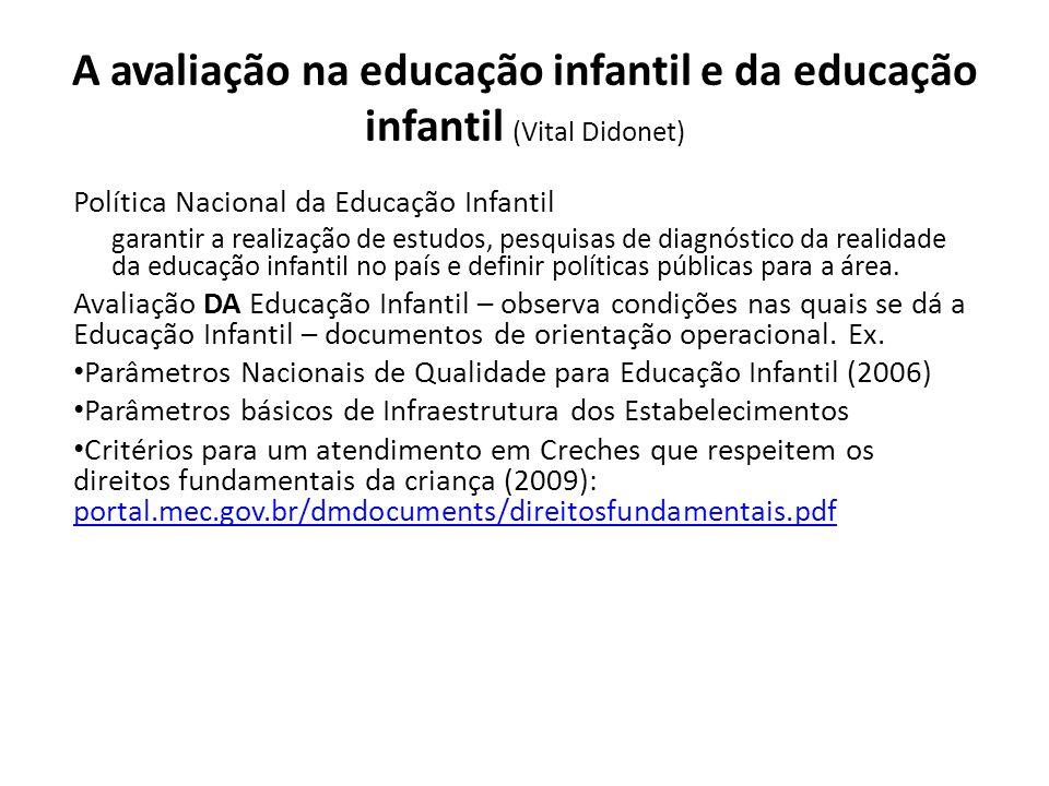 A avaliação na educação infantil e da educação infantil (Vital Didonet)