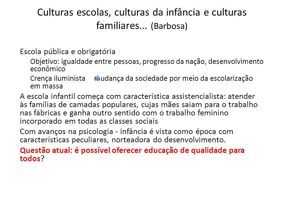 Culturas escolas, culturas da infância e culturas familiares... (Barbosa)