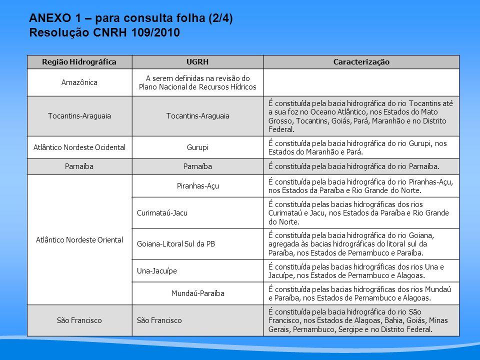 ANEXO 1 – para consulta folha (2/4) Resolução CNRH 109/2010