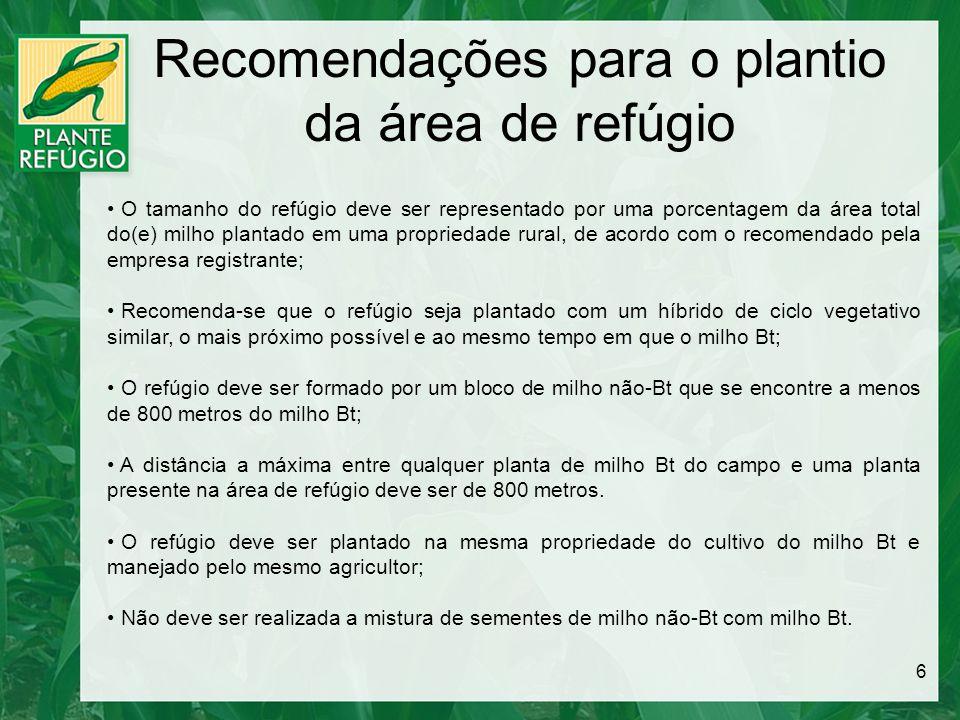 Recomendações para o plantio da área de refúgio