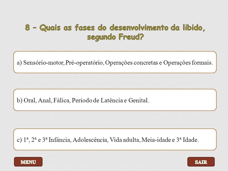 8 – Quais as fases do desenvolvimento da libido, segundo Freud