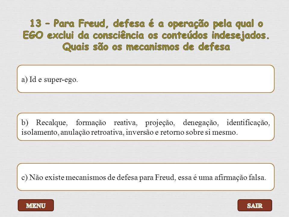 13 – Para Freud, defesa é a operação pela qual o EGO exclui da consciência os conteúdos indesejados. Quais são os mecanismos de defesa