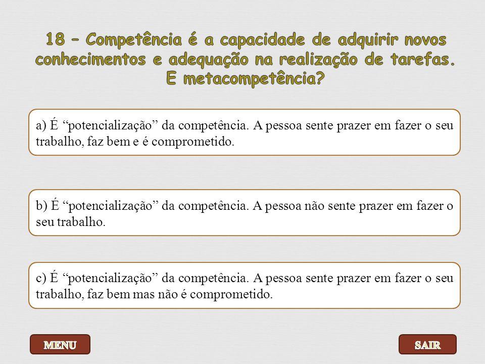 18 – Competência é a capacidade de adquirir novos conhecimentos e adequação na realização de tarefas. E metacompetência