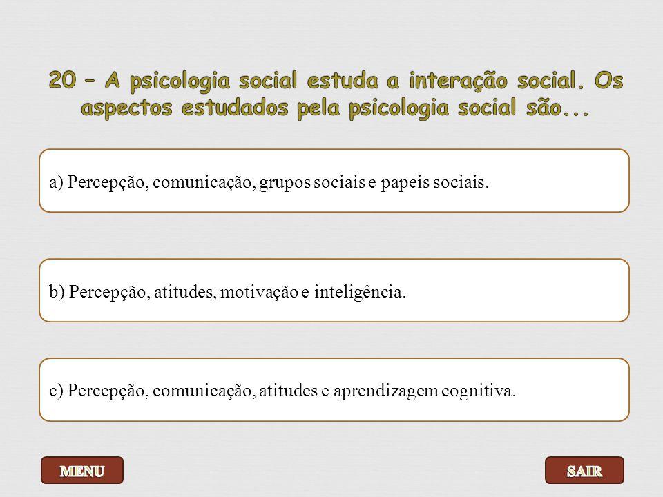20 – A psicologia social estuda a interação social