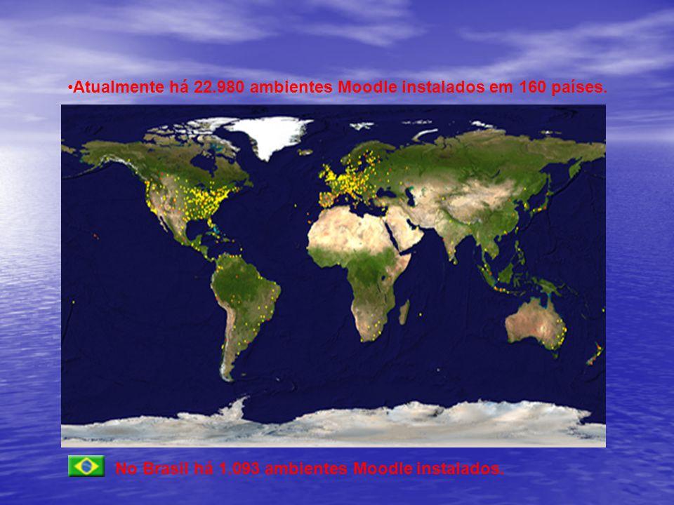 Atualmente há 22.980 ambientes Moodle instalados em 160 países.