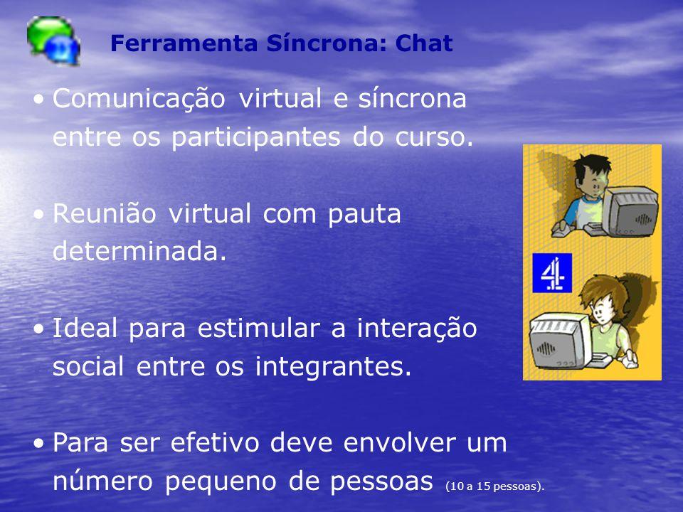 Comunicação virtual e síncrona entre os participantes do curso.