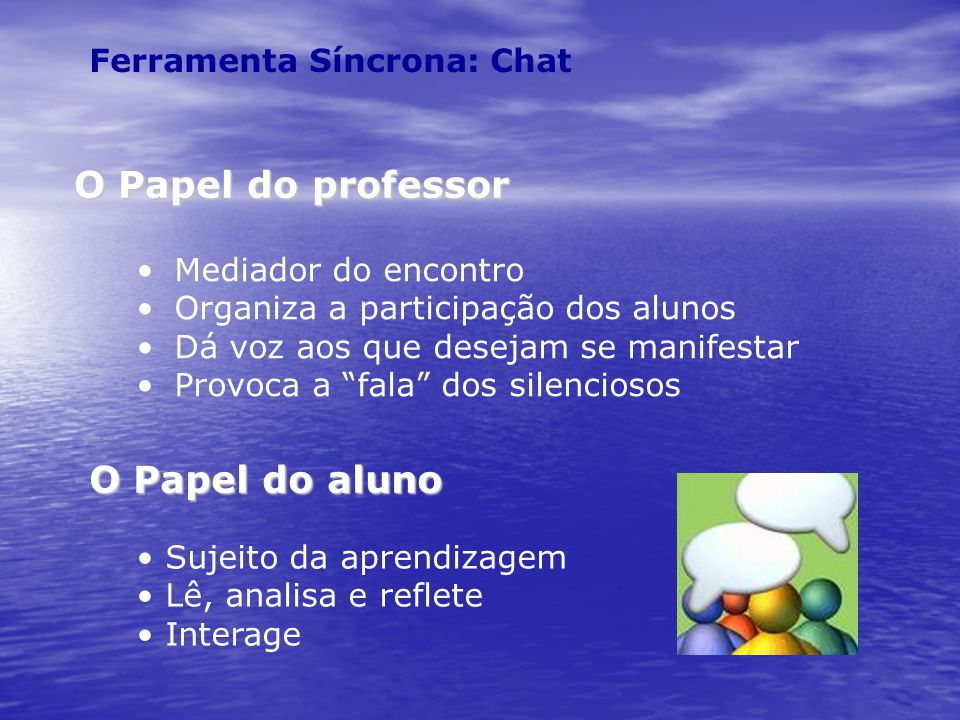 O Papel do professor O Papel do aluno Ferramenta Síncrona: Chat