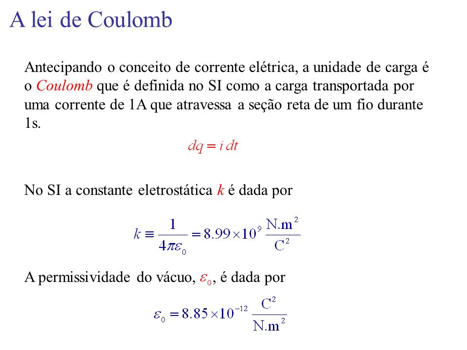 A lei de Coulomb