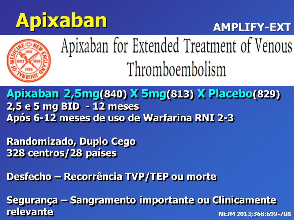 Apixaban AMPLIFY-EXT Apixaban 2,5mg(840) X 5mg(813) X Placebo(829)