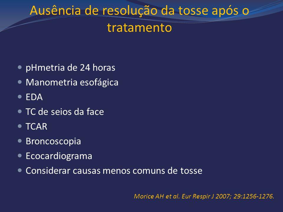 Ausência de resolução da tosse após o tratamento