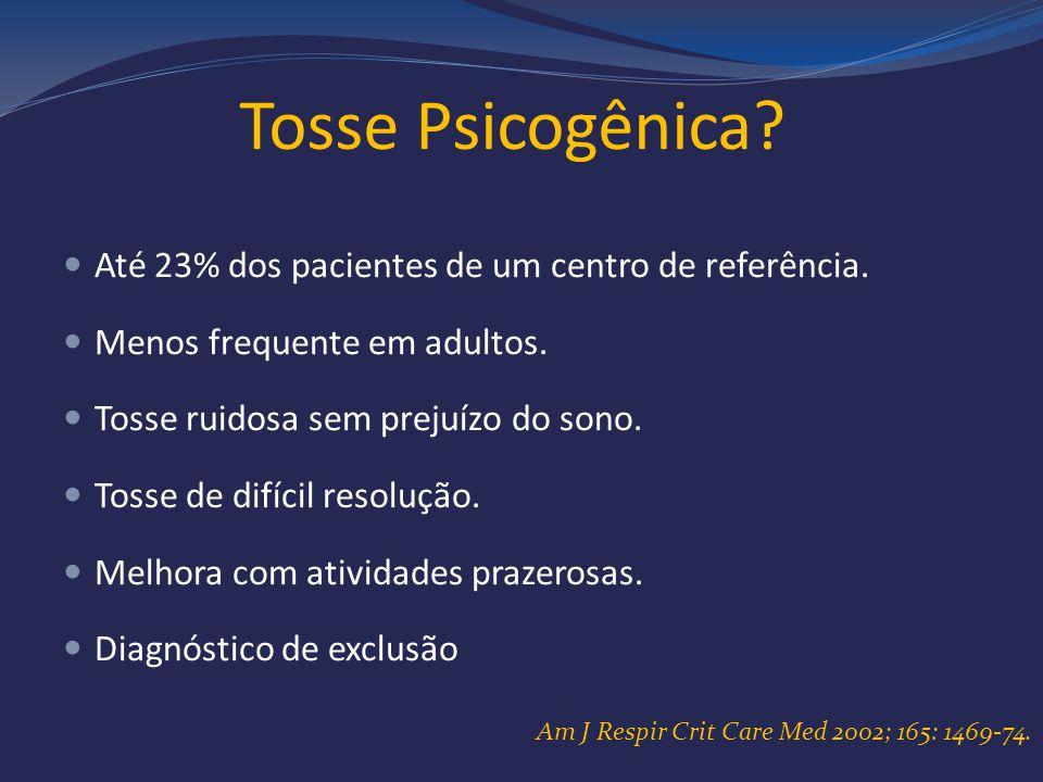 Tosse Psicogênica Até 23% dos pacientes de um centro de referência.