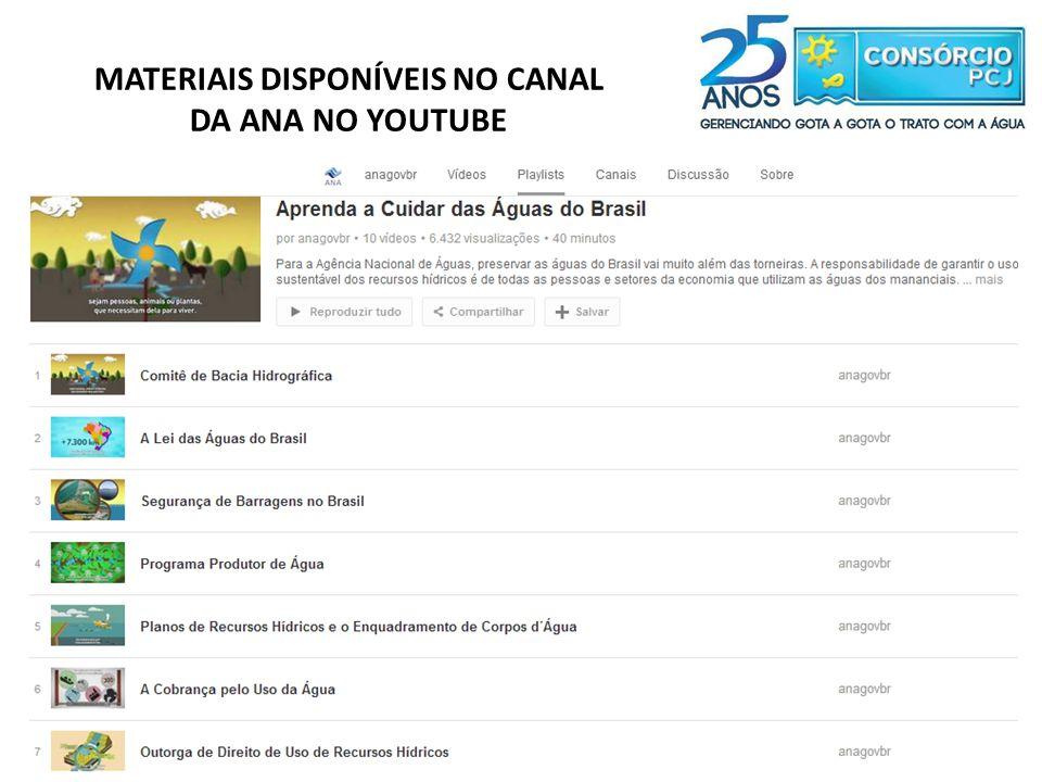 MATERIAIS DISPONÍVEIS NO CANAL