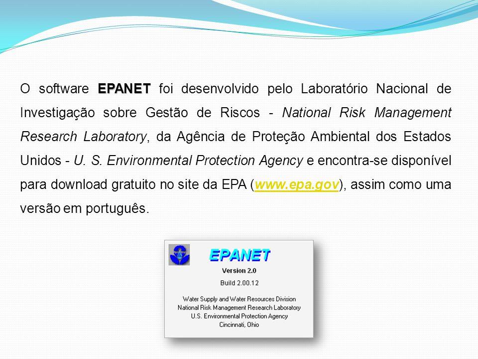 O software EPANET foi desenvolvido pelo Laboratório Nacional de Investigação sobre Gestão de Riscos - National Risk Management Research Laboratory, da Agência de Proteção Ambiental dos Estados Unidos - U.