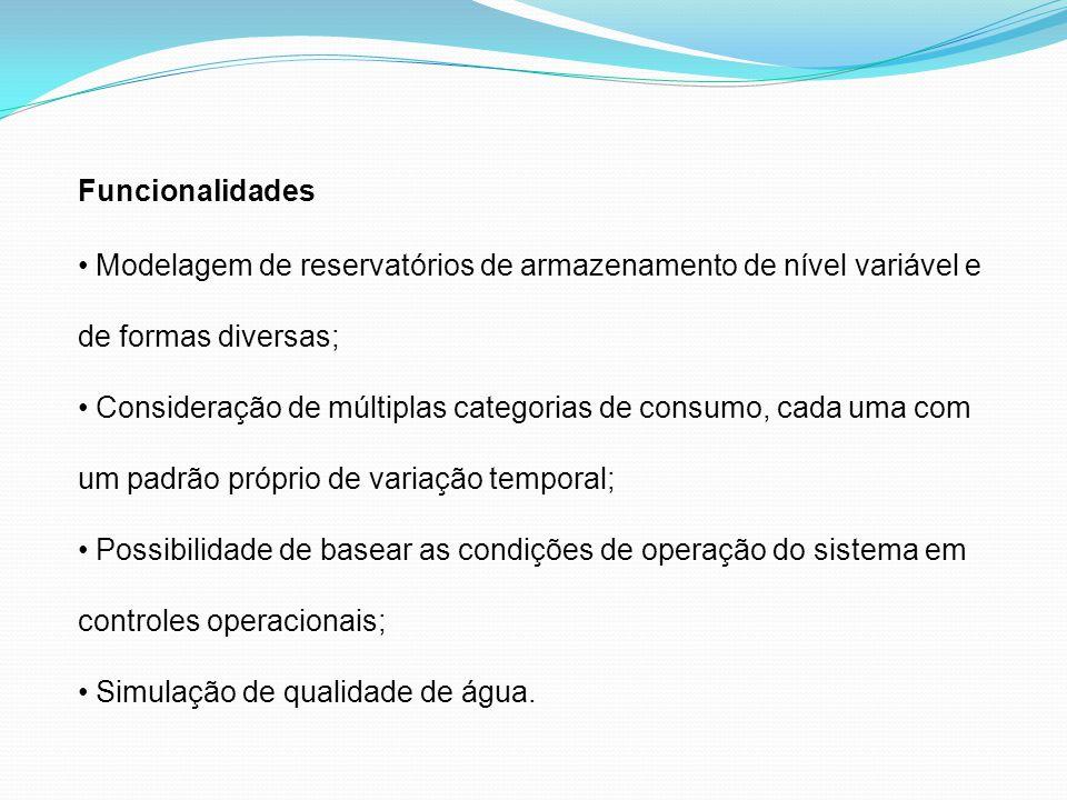 Funcionalidades Modelagem de reservatórios de armazenamento de nível variável e de formas diversas;