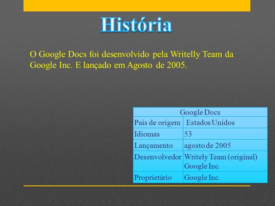 História O Google Docs foi desenvolvido pela Writelly Team da Google Inc. E lançado em Agosto de 2005.