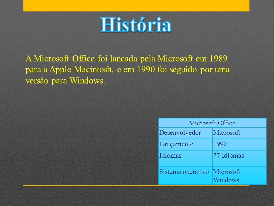 História A Microsoft Office foi lançada pela Microsoft em 1989 para a Apple Macintosh, e em 1990 foi seguido por uma versão para Windows.