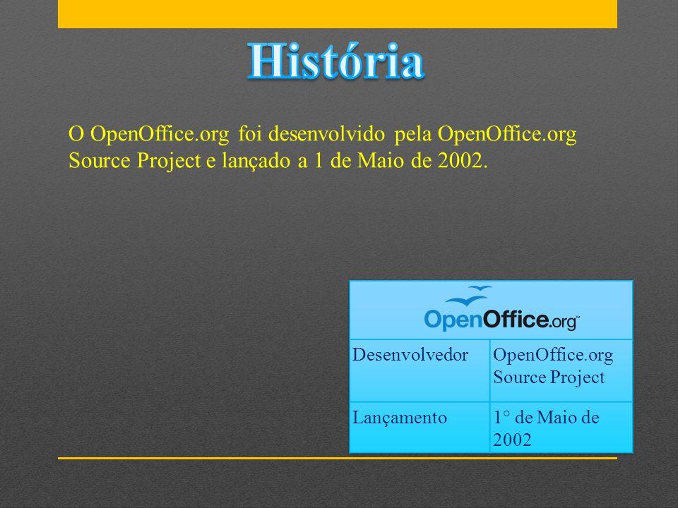 História O OpenOffice.org foi desenvolvido pela OpenOffice.org Source Project e lançado a 1 de Maio de 2002.