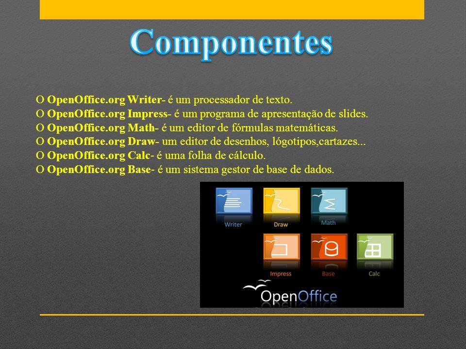 Componentes O OpenOffice.org Writer- é um processador de texto.