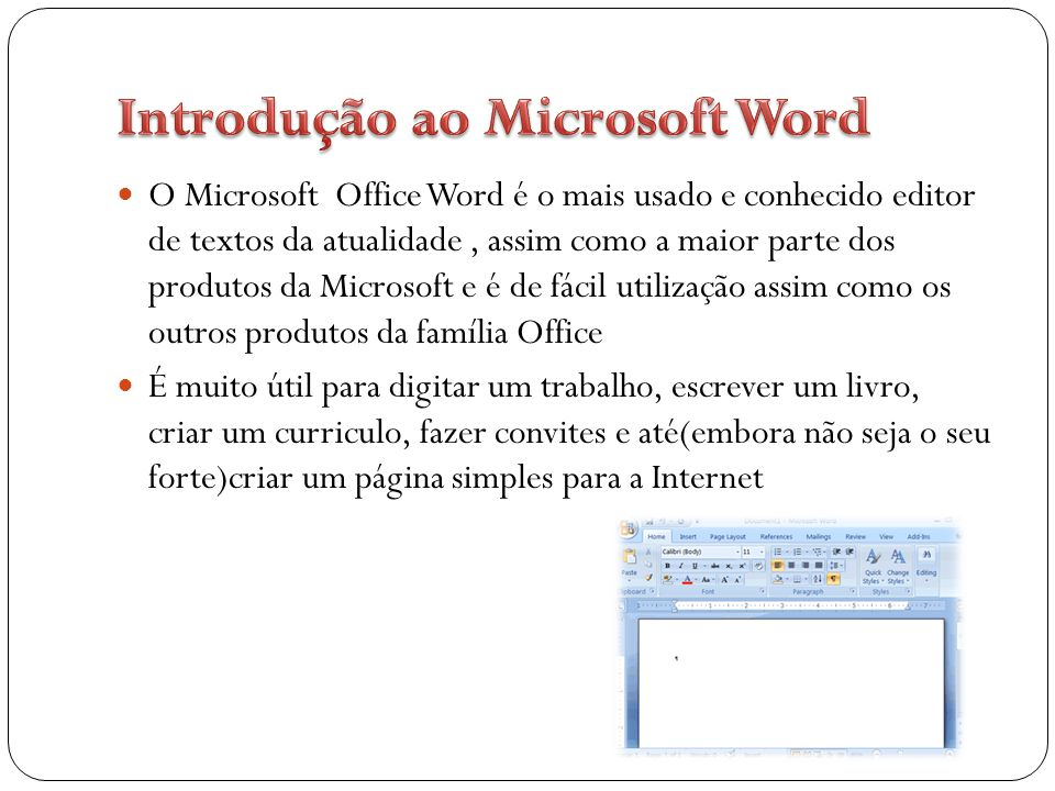 Introdução ao Microsoft Word