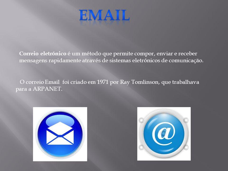 Email Correio eletrónico é um método que permite compor, enviar e receber mensagens rapidamente através de sistemas eletrónicos de comunicação.