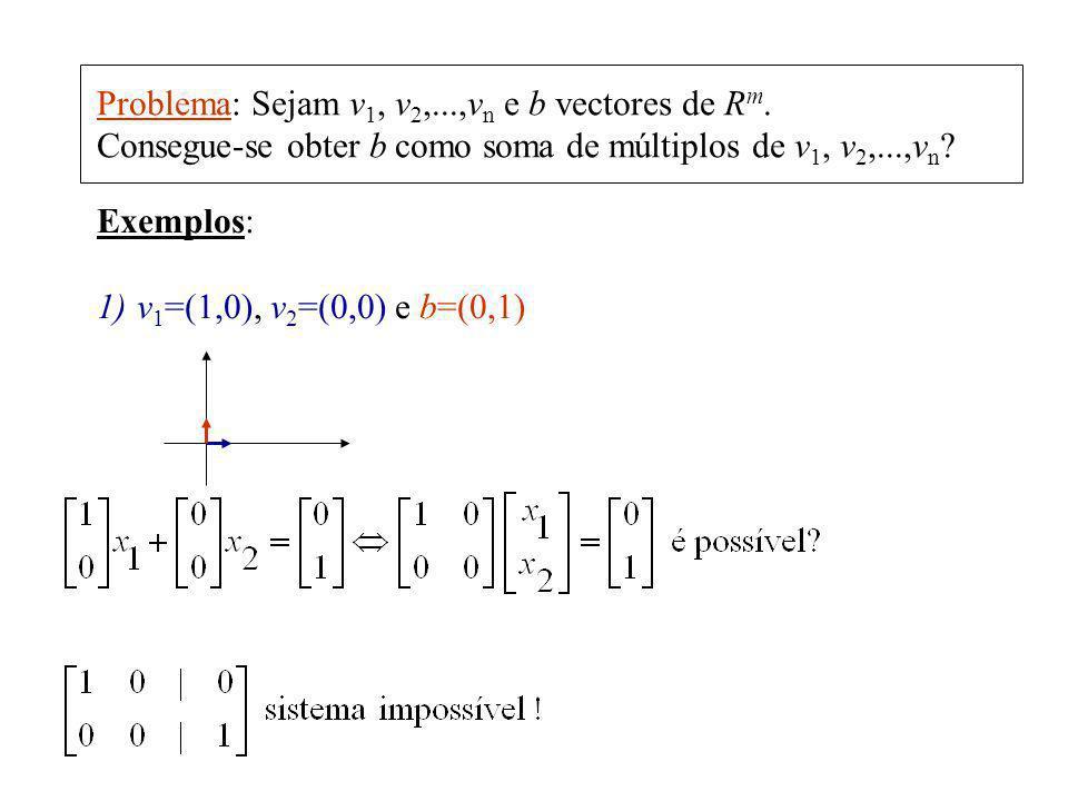 Problema: Sejam v1, v2,...,vn e b vectores de Rm.