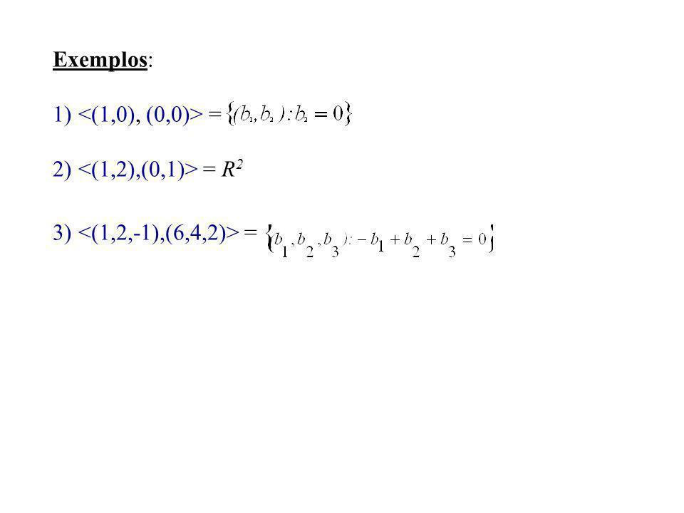 Exemplos: <(1,0), (0,0)> = <(1,2),(0,1)> = R2 <(1,2,-1),(6,4,2)> =