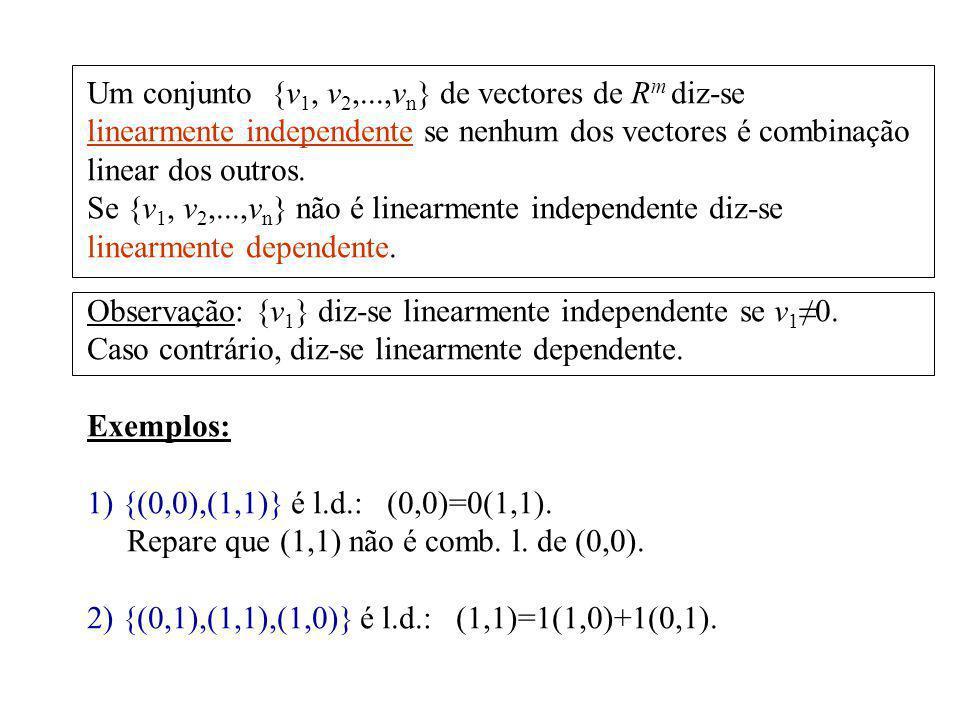 Um conjunto {v1, v2,...,vn} de vectores de Rm diz-se