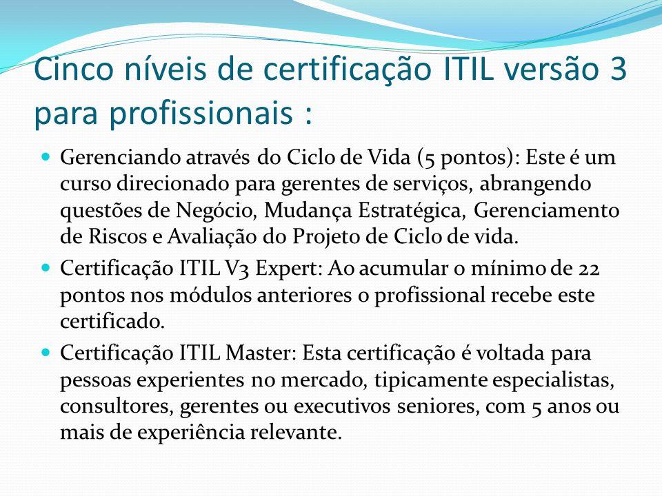 Cinco níveis de certificação ITIL versão 3 para profissionais :