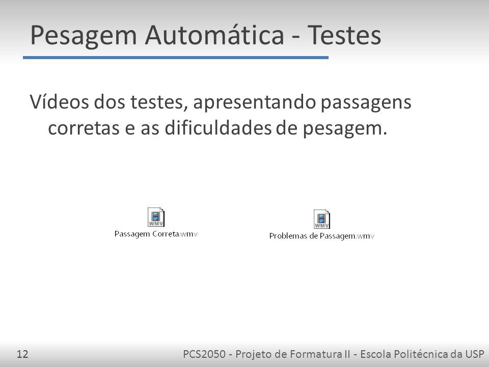Pesagem Automática - Testes