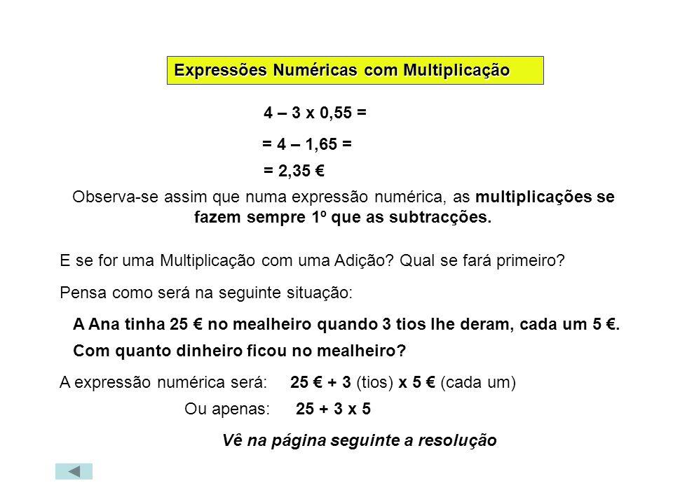 Expressões Numéricas com Multiplicação