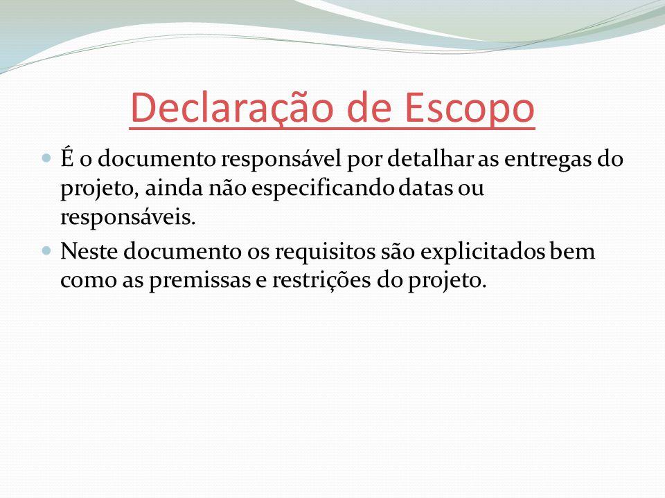 Declaração de Escopo É o documento responsável por detalhar as entregas do projeto, ainda não especificando datas ou responsáveis.