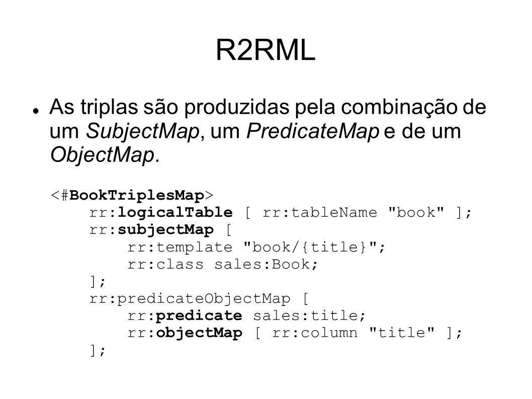 R2RML As triplas são produzidas pela combinação de um SubjectMap, um PredicateMap e de um ObjectMap.