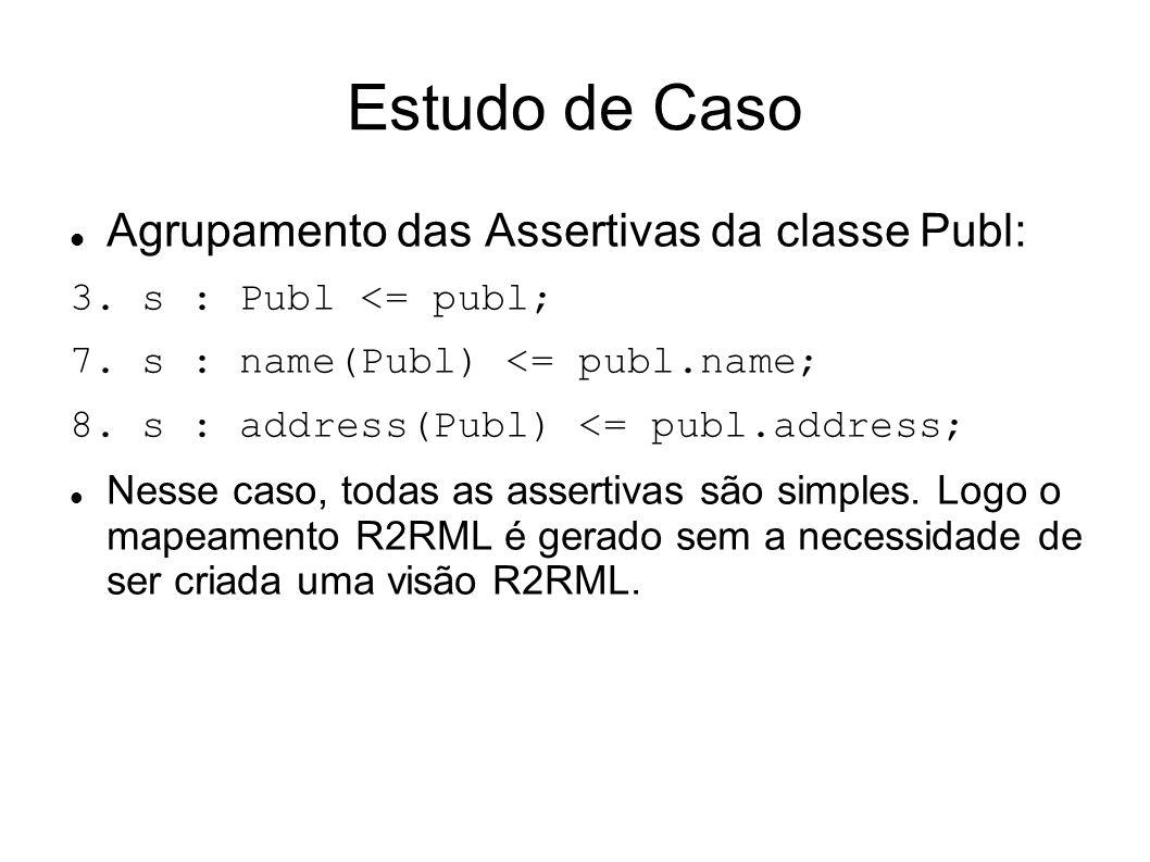 Estudo de Caso Agrupamento das Assertivas da classe Publ: