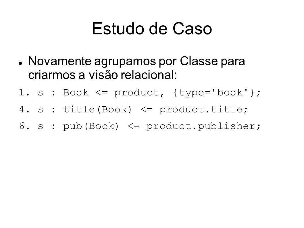 Estudo de Caso Novamente agrupamos por Classe para criarmos a visão relacional: 1. s : Book <= product, {type= book };
