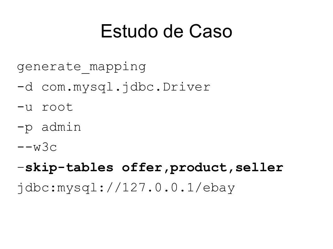 Estudo de Caso generate_mapping -d com.mysql.jdbc.Driver -u root