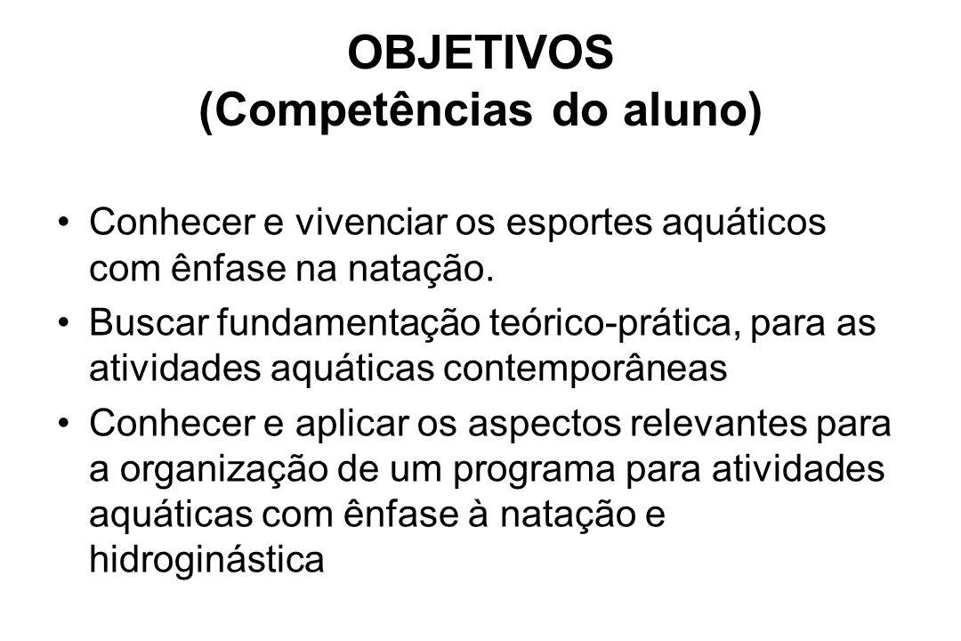 OBJETIVOS (Competências do aluno)