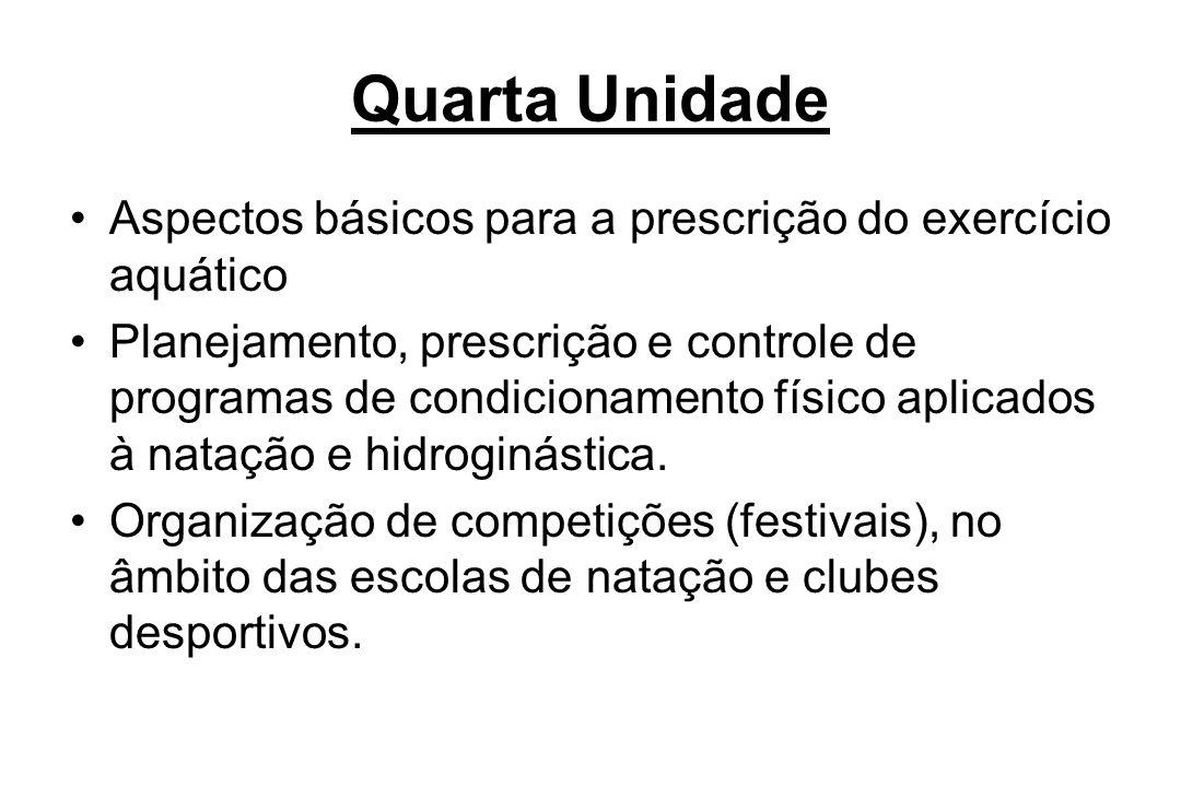 Quarta Unidade Aspectos básicos para a prescrição do exercício aquático.