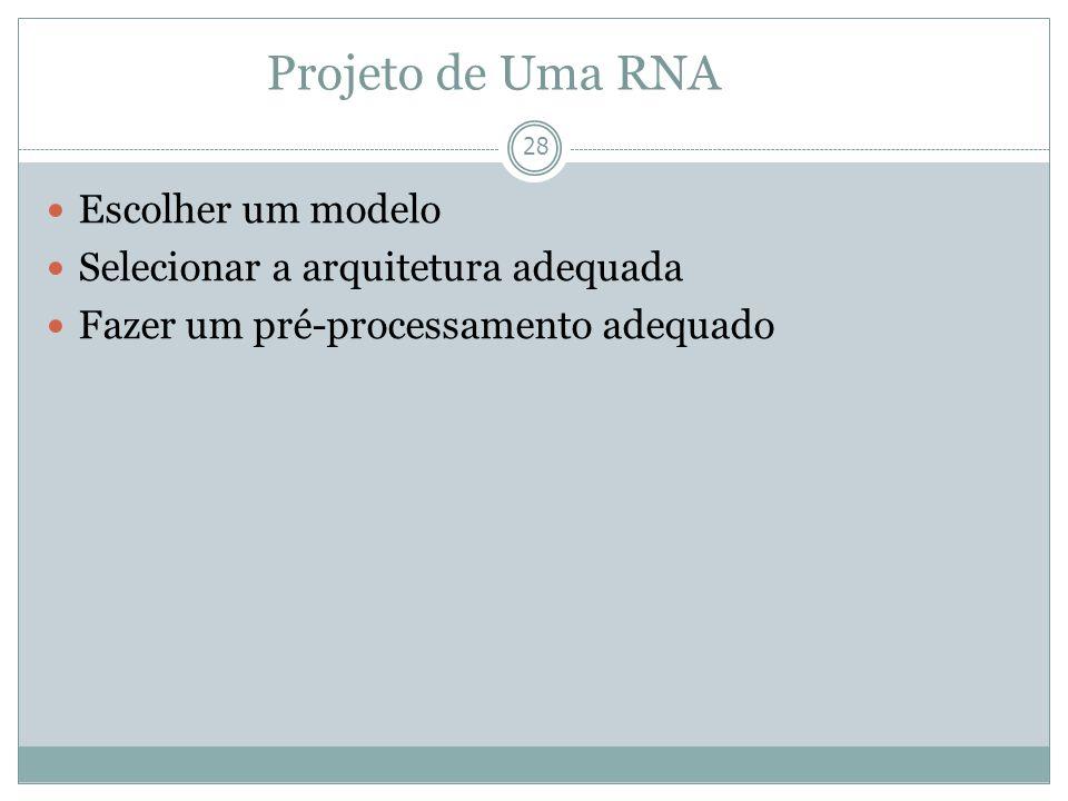 Projeto de Uma RNA Escolher um modelo