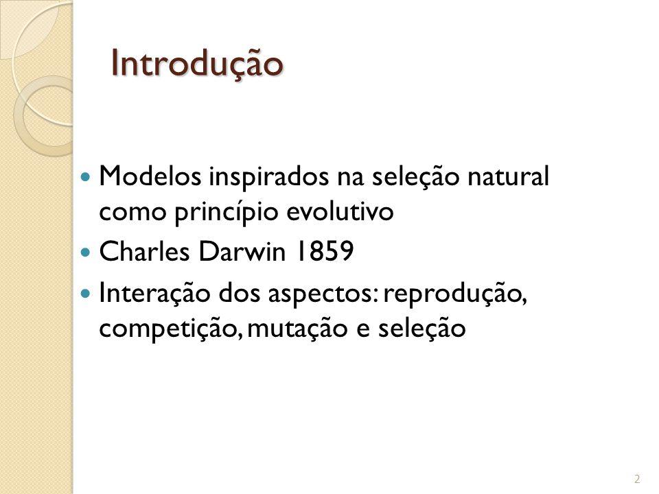 Introdução Modelos inspirados na seleção natural como princípio evolutivo. Charles Darwin 1859.