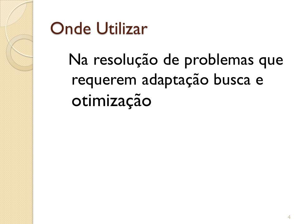 Onde Utilizar Na resolução de problemas que requerem adaptação busca e otimização