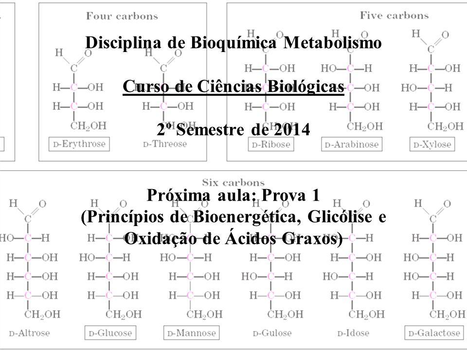 Disciplina de Bioquímica Metabolismo Curso de Ciências Biológicas