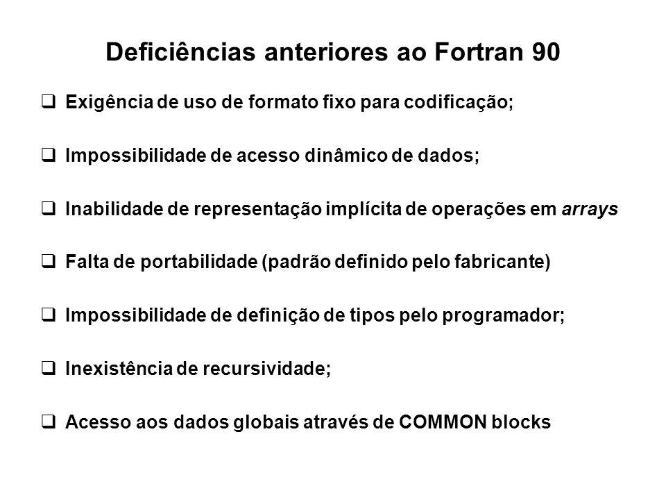 Deficiências anteriores ao Fortran 90