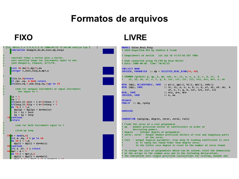Formatos de arquivos FIXO LIVRE
