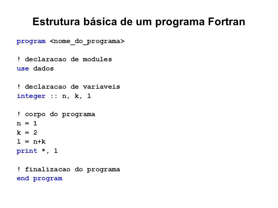 Estrutura básica de um programa Fortran