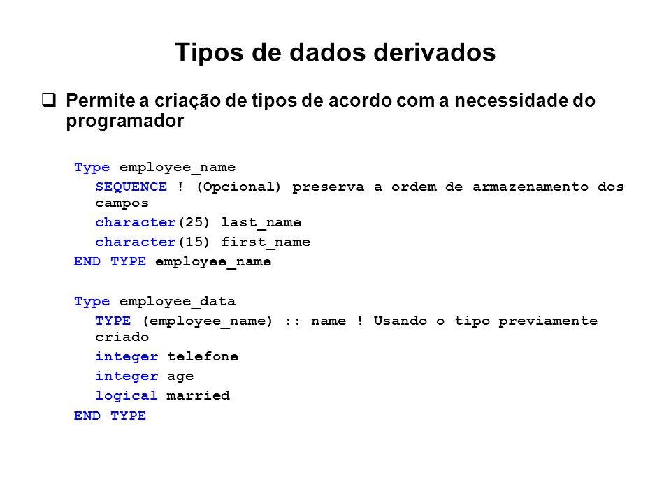 Tipos de dados derivados