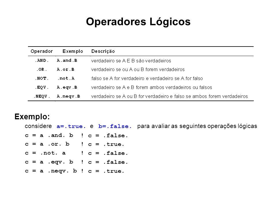 Operadores Lógicos Exemplo: Exemplo: