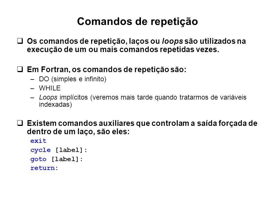 Comandos de repetição Os comandos de repetição, laços ou loops são utilizados na execução de um ou mais comandos repetidas vezes.